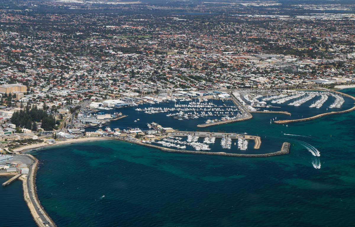 Fremantle and Fishing Boat Harbour, seen from VH-ICE Cirrus SR22 GTS G5 (MSN 4063) owned by Andrew Dean - Sat 15 November 2014. View facing southeast. Photo © David Eyre