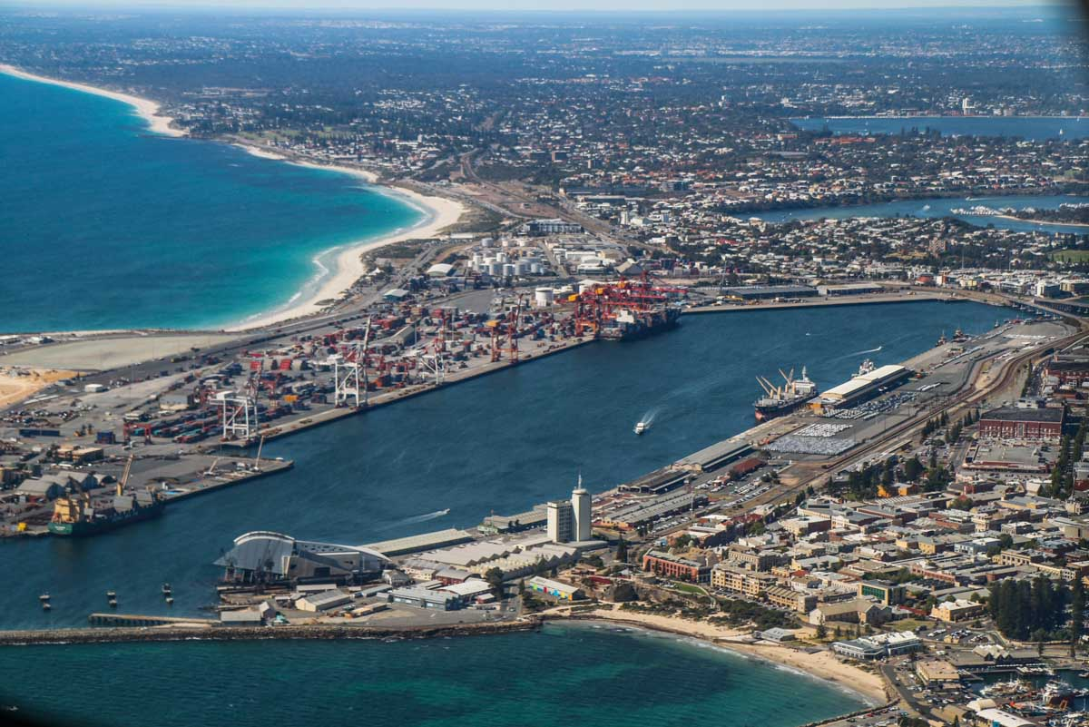 Fremantle Port, seen from VH-ICE Cirrus SR22 GTS G5 (MSN 4063) owned by Andrew Dean - Sat 15 November 2014. View facing northeast. Photo © David Eyre