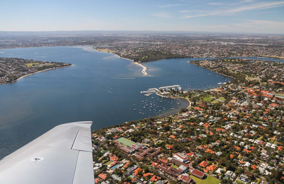 Dalkeith, Claremont, Mosman Park and Bicton seen from VH-ICE Cirrus SR22 GTS G5 (MSN 4063) owned by Andrew Dean - Sat 15 November 2014. View facing southeast on a flight from Jandakot to Geraldton, Dongara and back. Photo © David Eyre
