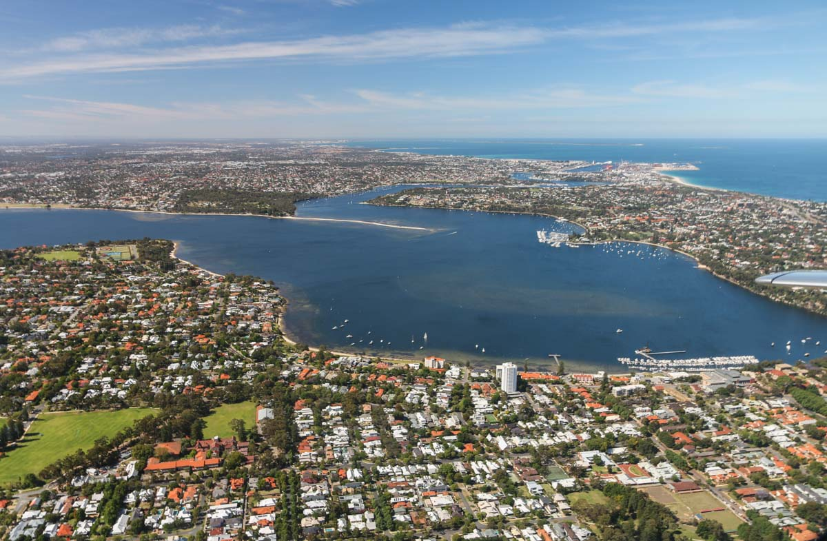 Dalkeith, Claremont, Mosman Park and Bicton, with Fremantle in the distance, seen from VH-ICE Cirrus SR22 GTS G5 (MSN 4063) owned by Andrew Dean - Sat 15 November 2014. View facing south from Claremont, on a flight from Jandakot to Geraldton, Dongara and back. Photo © David Eyre