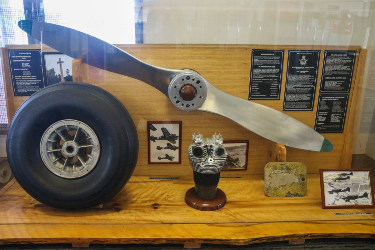 Avro Anson components on display as a tribute to 4 SFTS, in the terminal at Geraldton Airport - Sat 15 November 2014. From 1941 to 1945, Geraldton was the base for the Avro Anson aircraft (also known as 'Aggies') of No. 4 Service Flying Training School, RAAF, and some 5,000 service personnel were trained there. Photo © David Eyre