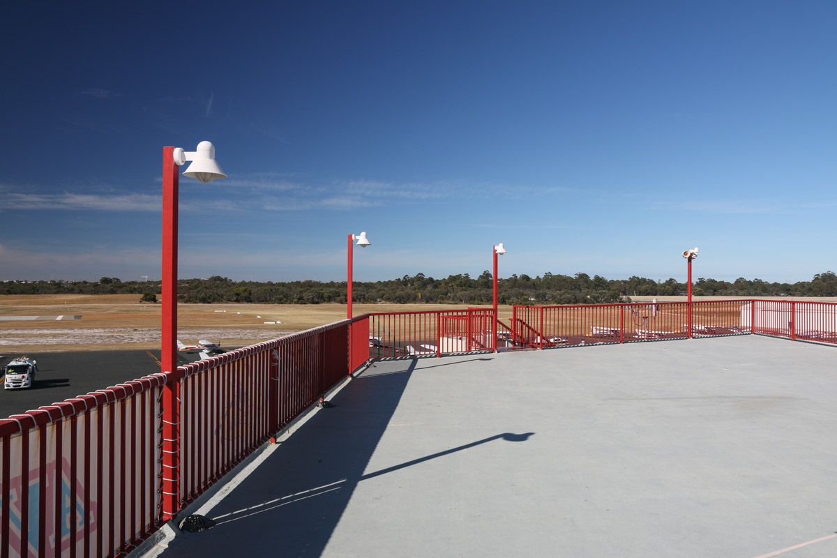 Royal Aero Club of Western Australia building, top floor viewing area, facing southwest. Morning photo. Runway 12 threshold visible at centre left. Jandakot Airport - Sat 15 November 2014. Photo © David Eyre