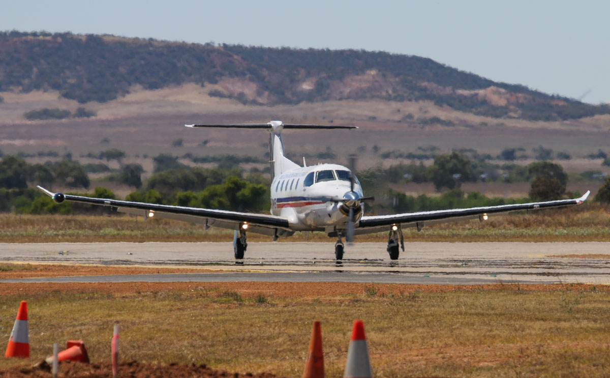 VH-OWB Pilatus PC-12/47E (MSN 1104) of the Royal Flying Doctor Service (Western Operations) at Geraldton Airport – Sat 15 November 2014. Arriving from Jandakot at 10:43am. Photo © David Eyre