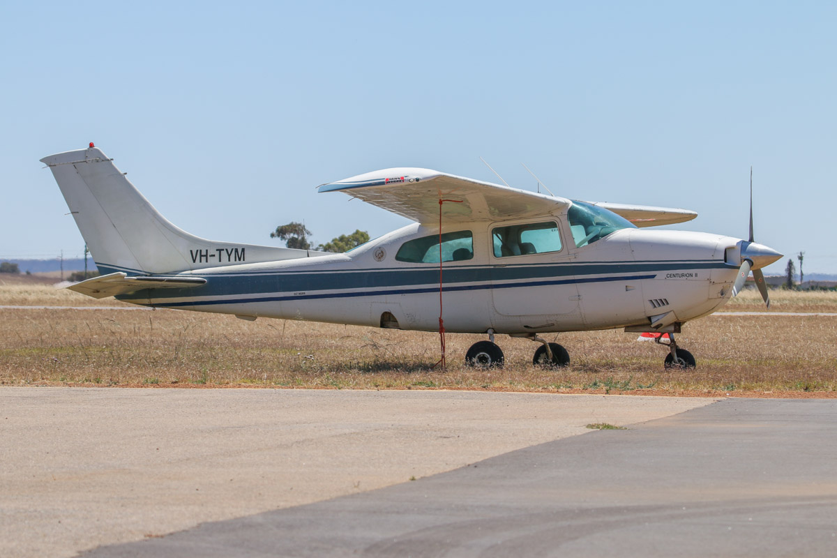 VH-TYM Cessna 210M Centurion II (MSN 21061786, ex N732UN) owned by Allan Griffith, of Carnamah, WA, at Geraldton Airport - Sat 15 November 2014. Photo © David Eyre