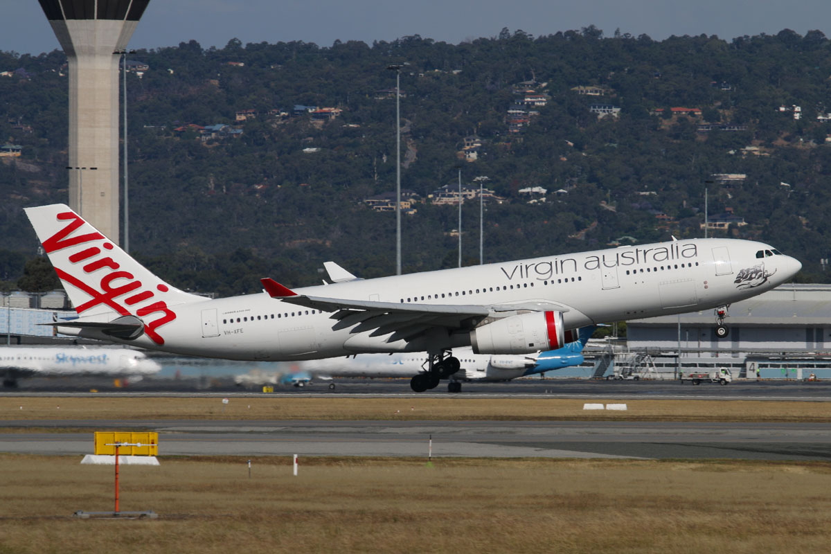 VH-XFE Airbus A330-243 (MSN 1319) of Virgin Australia, named 'Manly Beach', at Perth Airport – Thu 27 November 2014. Flight VA562 to Sydney, taking off from runway 21 at 16:02. Photo © David Eyre