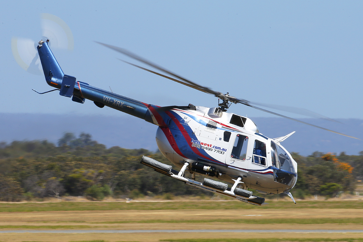 VH-XRX MBB Helicopter Canada Ltd BO 105LS A-3 (MSN 2033) of Heliwest Pty Ltd at Jandakot Airport – Tues 16 Dec 2014.