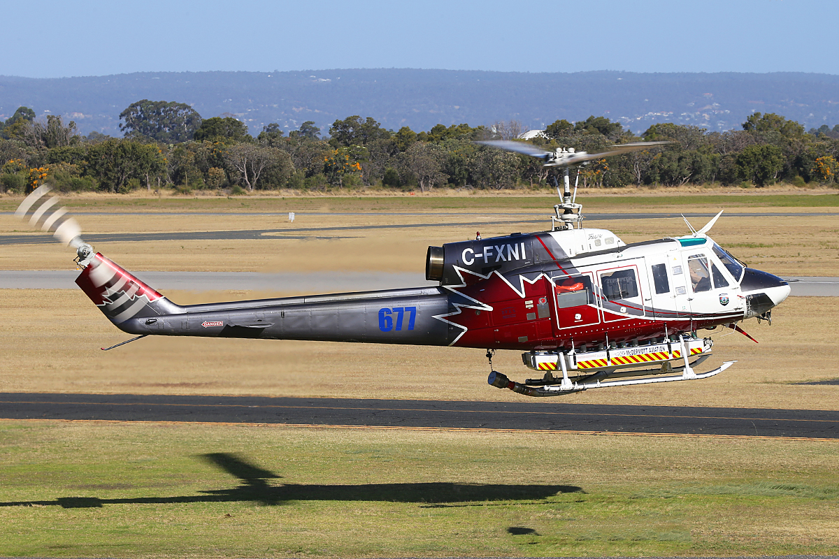 C-FXNI Bell 214B-1 (MSN 28022) Helitac operated by McDermott Aviation at Jandakot Airport – Sat 13 Dec 2014.