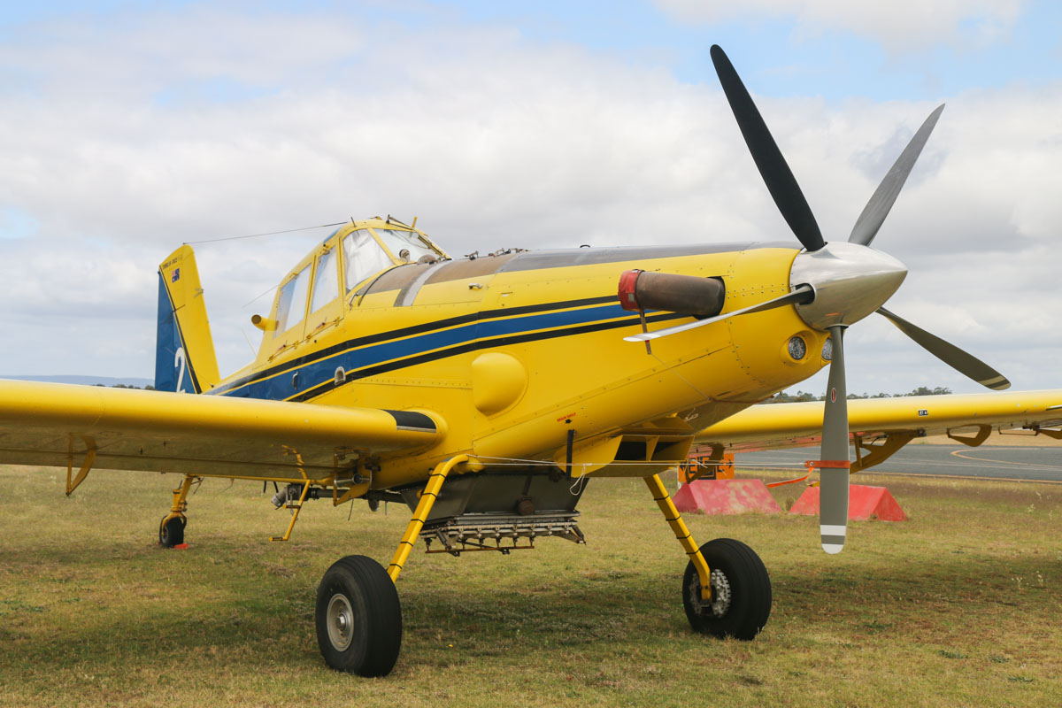 VH-EOG / BOMBER 602 Air Tractor AT-802 (MSN 802-0185), named 'Tumblin' Dice', owned by Dunn Aviation (Mal Dunn Pty Ltd), at Jandakot Airport - Fri 28 November 2014. Under contract to the Western Australian Government on fire fighting duties, but still fitted with agricultural equipment when this photo was taken. Built in 2004, ex N8520L. Photo © David Eyre