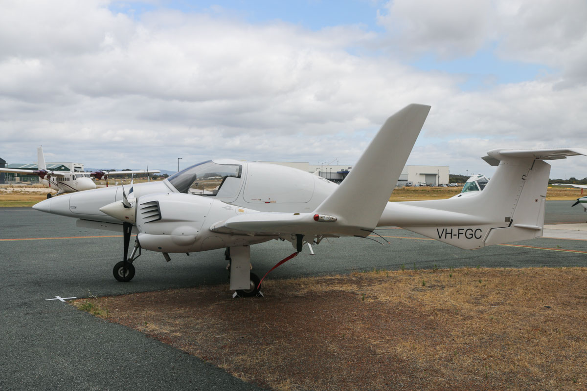 VH-FGC Diamond DA-42 Twin Star (MSN 42.354) of CGG Airborne Surveys Pty Ltd, at Jandakot Airport – Fri 28 November 2014. Since the takeover of Fugro Airborne Surveys by CGG Airborne Surveys, the three DA-42 aircraft have had their geophysical survey equipment removed, including the nose-mounted magnetometer stingers. Possibly about to be sold. Photo © David Eyre