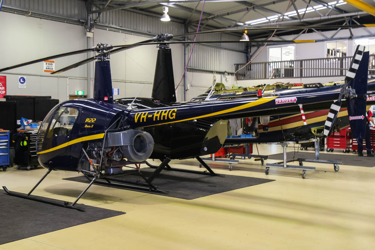 VH-HHG Robinson R22 Beta II (MSN 2992) owned by Fortescue Helicopters Pty Ltd, of Newman, WA, at Jandakot Airport - Fri 28 November 2014. Inside the Heliwest hangar. Built in 1999. Photo © David Eyre