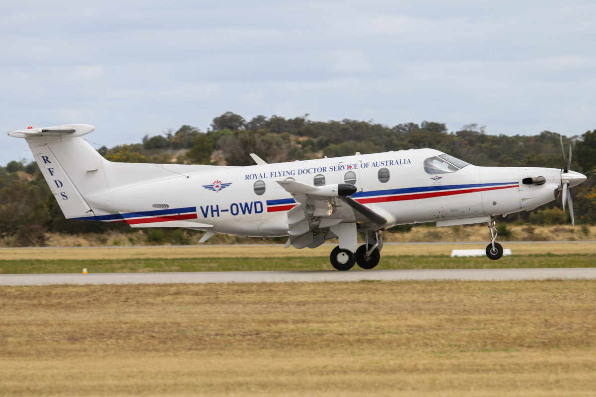 VH-OWD Pilatus PC-12/47E (MSN 1140) of the Royal Flying Doctor Service of Australia (Western Operations), at Jandakot Airport - Fri 28 November 2014. Landing on runway 24R at 2:46pm,arriving from Wyalketcham. Built in 2009, ex HB-FRN. Photo © David Eyre