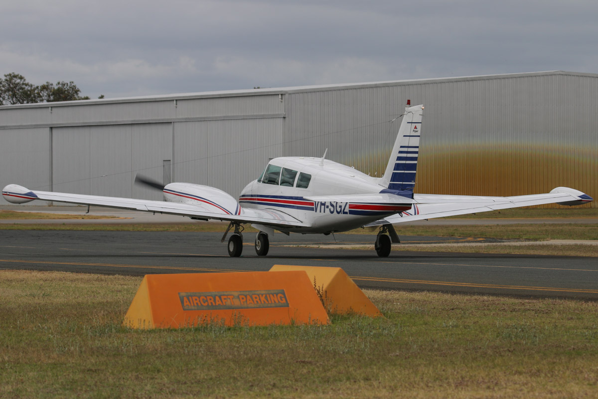 VH-SGZ Piper PA-30 Twin Comanche B (MSN 30-1590) owned by Gimson Pty Ltd of Dowerin, WA, at Jandakot Airport - Fri 28 November 2014. Built in 1967, ex N8483Y. Photo © David Eyre