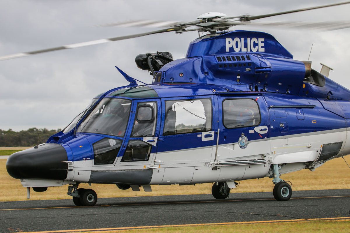 VH-WPX / POLAIR 62 Eurocopter AS365N3+ Dauphin 2 (MSN 6936, ex F-WWOX) of WA Police Air Wing at Jandakot Airport – Fri 28 November 2014. Delivered in September 2011, entered service at the end of May 2012. Fitted with various systems, including communications, sensors, a forward-looking infra-red (FLIR) camera, Tasking and Dispatch Information Systems (TADIS), special lighting, and a rescue winch. Photo © David Eyre