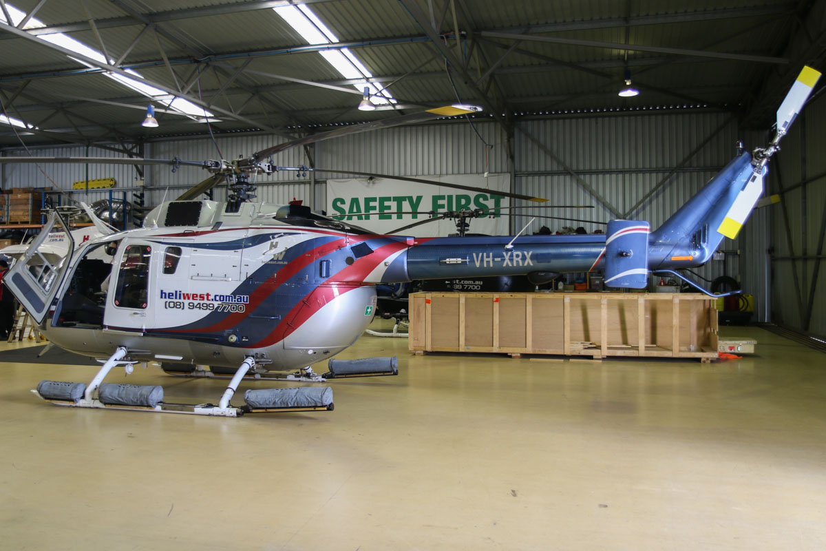 VH-XRX MBB Bo-105LS A-3 (MSN 2033) of Heliwest Pty Ltd at Jandakot Airport – Fri 28 November 2014. Inside the Heliwest hangar. Built in 1991 in Canada by MBB Helicopter Canada, ex C-GCJT, N81MB, N911MB, N911SV, N911SY, N315LS. Photo © David Eyre