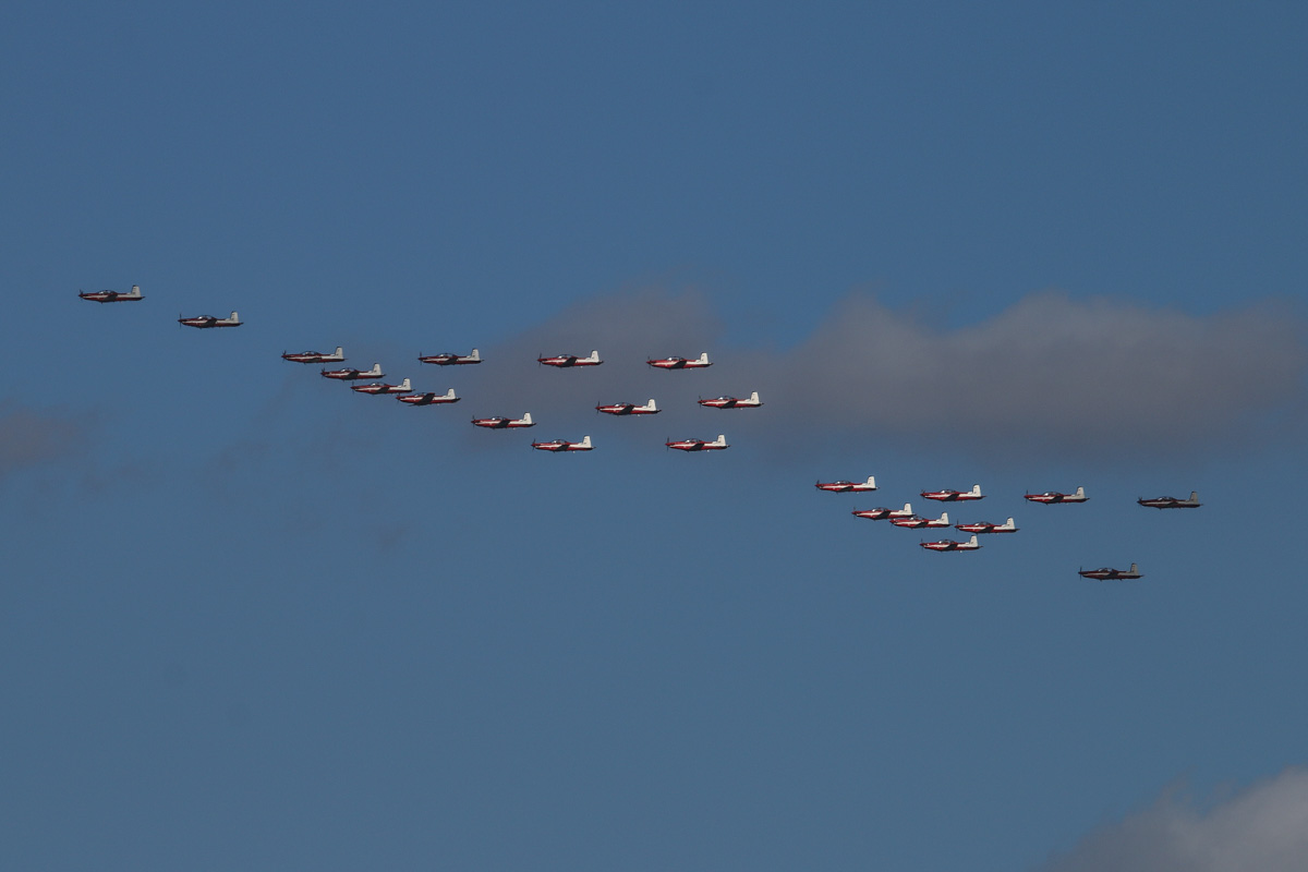 23 Pilatus PC-9/A aircraft of 2 Flying Training School (2FTS), RAAF, based at Pearce, WA, in Thunderbird formation over the northern suburbs of Perth – Wed 3 December 2014. The 'Thunderbird' formation was a salute to six Royal Australian Air Force (RAAF) students and one Royal Australian Navy (RAN) student of number 237 Pilots Course who graduated as military aviators in a ceremony held the next day, on Thursday 4 December 2014 at RAAF Base Pearce, after their 38-week course with 2 Flying Training School (2FTS). The Thunderbird formation is also treated as a training activity for the student pilots. After taking off from RAAF Pearce, they gathered into their formation west of Gingin, then headed south west to pass over Rottnest Island at approximately 3.54pm, over Fremantle at approximately 3.57pm, then up the Swan River to pass in front of Perth city at approximately 4.00pm. They are seen here over the north eastern suburbs at 4.10pm before passing over RAAF Pearce for a flypast at 4:12pm. Photo © David Eyre