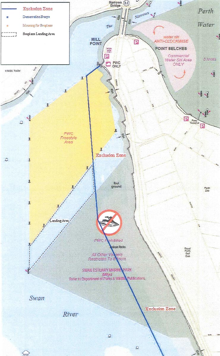 Seaplane landing area on Swan River near Millpoint Road, South Perth, as approved in November 2013. This shows the difficulties posed by the Freestyle Area to the north (used by jet skis, parasailing boats and jetboats), the Milyu Marine Park to the south, and the exclusion zone to the east.