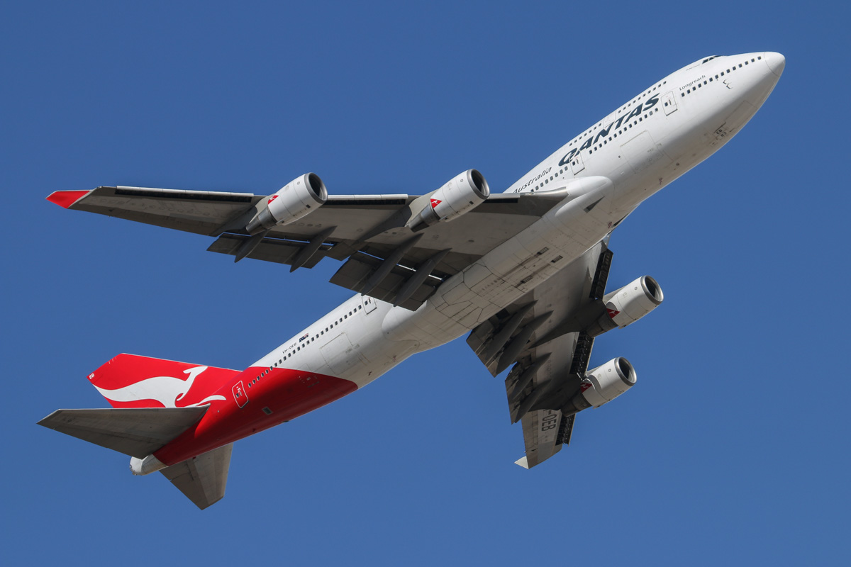 VH-OEB Boeing 747-48E (MSN 25778/983), named 'Phillip Island', of Qantas at Perth Airport – Mon 8 December 2014. Seen after takeoff from runway 21 at 3:45pm as flight QF2. VH-OEB flew into Perth empty from Sydney, to pick up stranded passengers from Qantas A380 VH-OQG. VH-OQG was operating flight QF2 from Dubai to Sydney and had to make an emergency landing at Perth in the very early hours of the morning, due to problems with its airconditioning and pressurisation. Photo © David Eyre