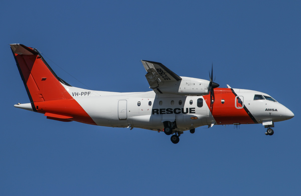 VH-PPF Dornier 328-100 (MSN 3057) of AeroRescue Pty Ltd, operated for the Australian Maritime Safety Authority (AMSA), at Perth Airport – Wed 10 December 2014. On final approach to runway 21 at 3:37pm. The aircraft is modified for SAR (Search And Rescue), but when not used for SAR duties, the aircraft is also used for pollution detection and by Customs / Border Protection for maritime suveillance duties, using Customs callsigns. This aircraft will be replaced by a modified Challenger 604 jet from August 2016, to be operated by Cobham SAR Services. Photo © David Eyre