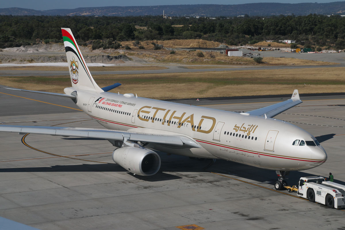 A6-EYT Airbus A330-243 (MSN 1486) of Etihad, at Perth Airport – Sun 28 December 2014. Flight EY487 to Abu Dhabi, during pushback and engine start from Bay 54 at 3:54pm. Photo © David Eyre