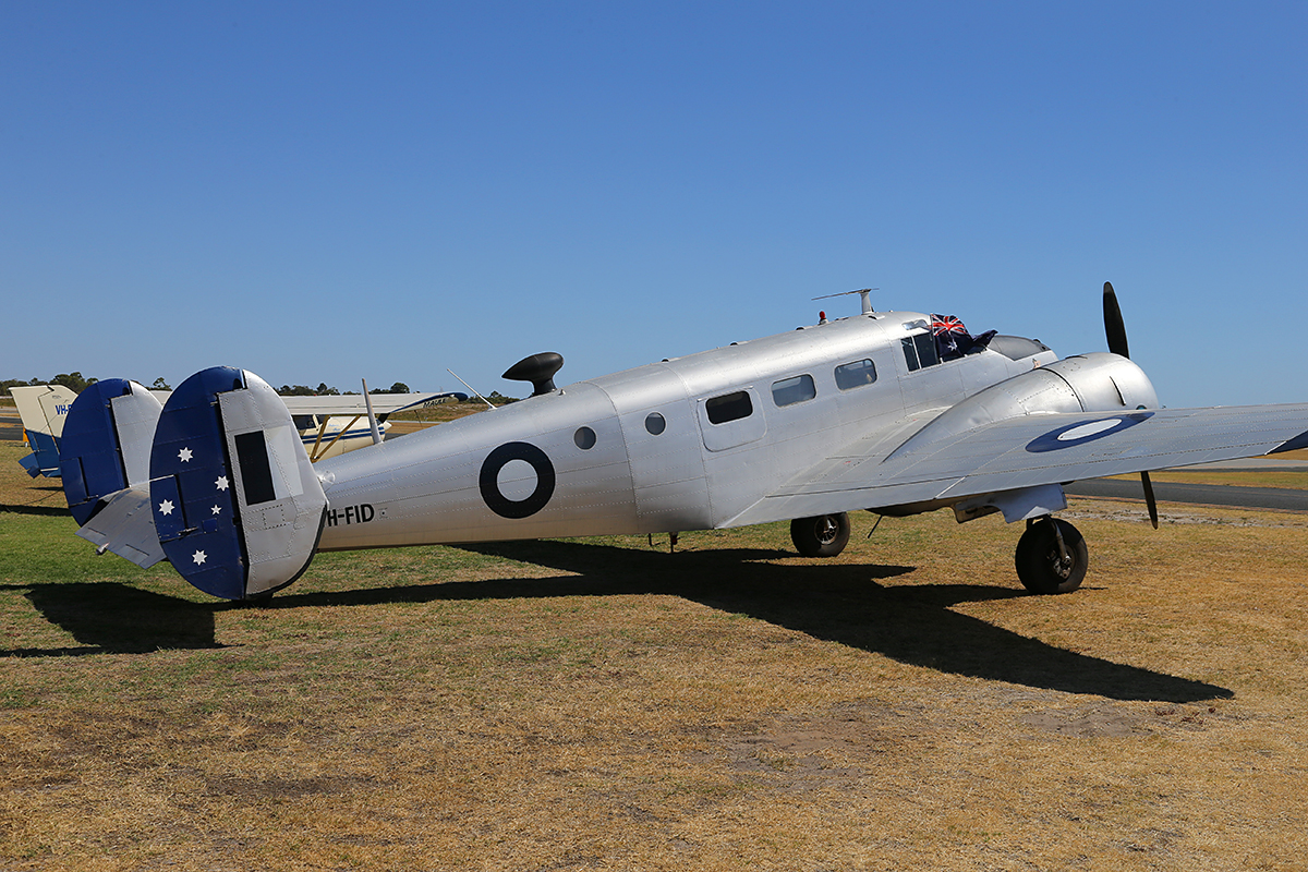 VH-FID Beech D18S Expeditor (MSN A-458) named 'Dinky Di', owned by Adamson Holdings Pty Ltd, of Geraldton, WA, at Jandakot Airport - Australia Day, Mon 26 January 2015.