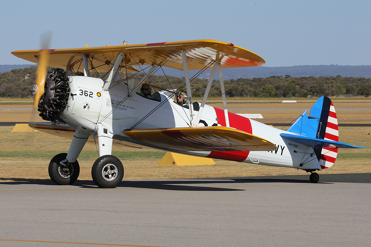 VH-YND Boeing E75 Stearman (MSN 75-5362) - at Jandakot Airport – Australia Day, Mon 26 January 2015.
