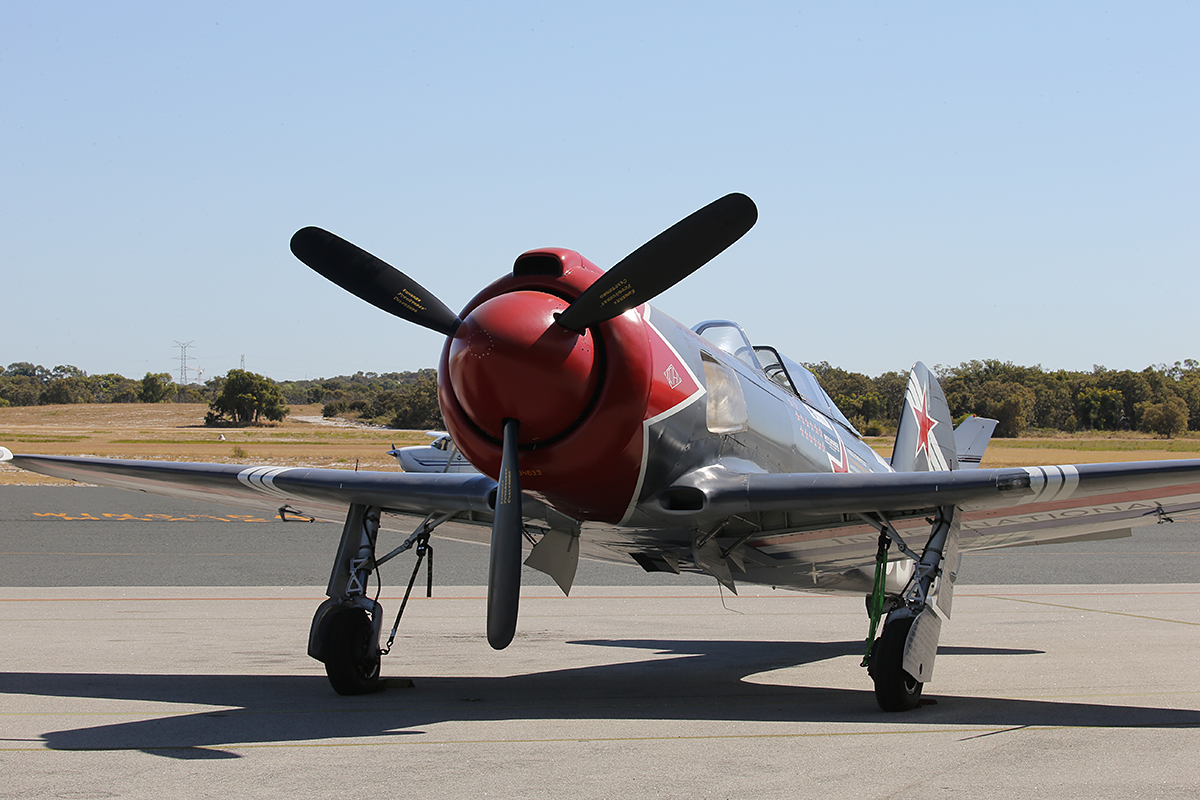 VH-YOV / N46463 / 33 Avioane Craiova Yak-3U-R2000 (MSN 001-3/2005) named 'Steadfast', owned by Eastern Fighters Pty Ltd, at Jandakot Airport – Australia Day, Mon 26 Jan 2015.
