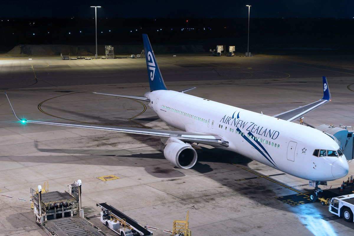 ZK-NCL Boeing 767-319ER (MSN 28745/677) of Air New Zealand at Perth Airport – Sat 24 January 2015 Parked at Bay 54 at the International terminal at 8.10pm, preparing for departure on the seasonal NZ162 service to Christchurch. Photo © Luke Pillion