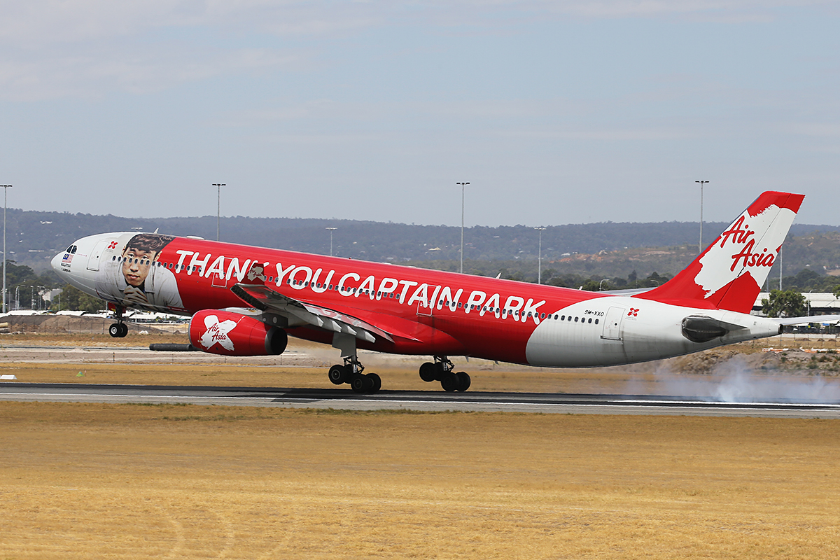 """9M-XXO Airbus A330-343X (MSN 692) of AirAsia X (leased from ILFC), with """"THANK YOU CAPTAIN PARK"""" special livery, at Perth Airport – Sun 1 Feb 2015."""
