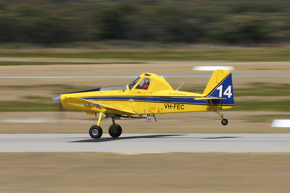 VH-FEC / BOMBER 614 Air Tractor AT-504 (MSN 504), named 'Blacky', owned by Dunn Aviation, at Jandakot Airport - Tues 3 Feb 2015.