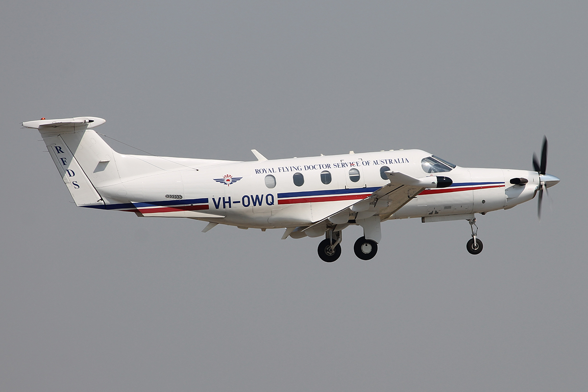 VH-OWQ Pilatus PC-12/47E (MSN 1052) of the Royal Flying Doctor Service (Western Operations), at Jandakot Airport -7 Feb 2015.