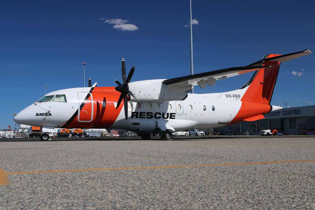 VH-PPF Dornier 328-100 (MSN 3057) of Pearl Aviation Australia /AeroRescue Pty Ltd, at Perth Airport – Fri 6 March 2015. AeroRescue operates five Dornier 328s, one of each based at Perth, Darwin, Cairns, Brisbane and Melbourne. The aircraft are modified for search and rescue, operating under contract to the Australian Maritime Safety Authority (AMSA), using RESCUE callsigns – VH-PPF is 'RESCUE 461'. Photo © David Eyre