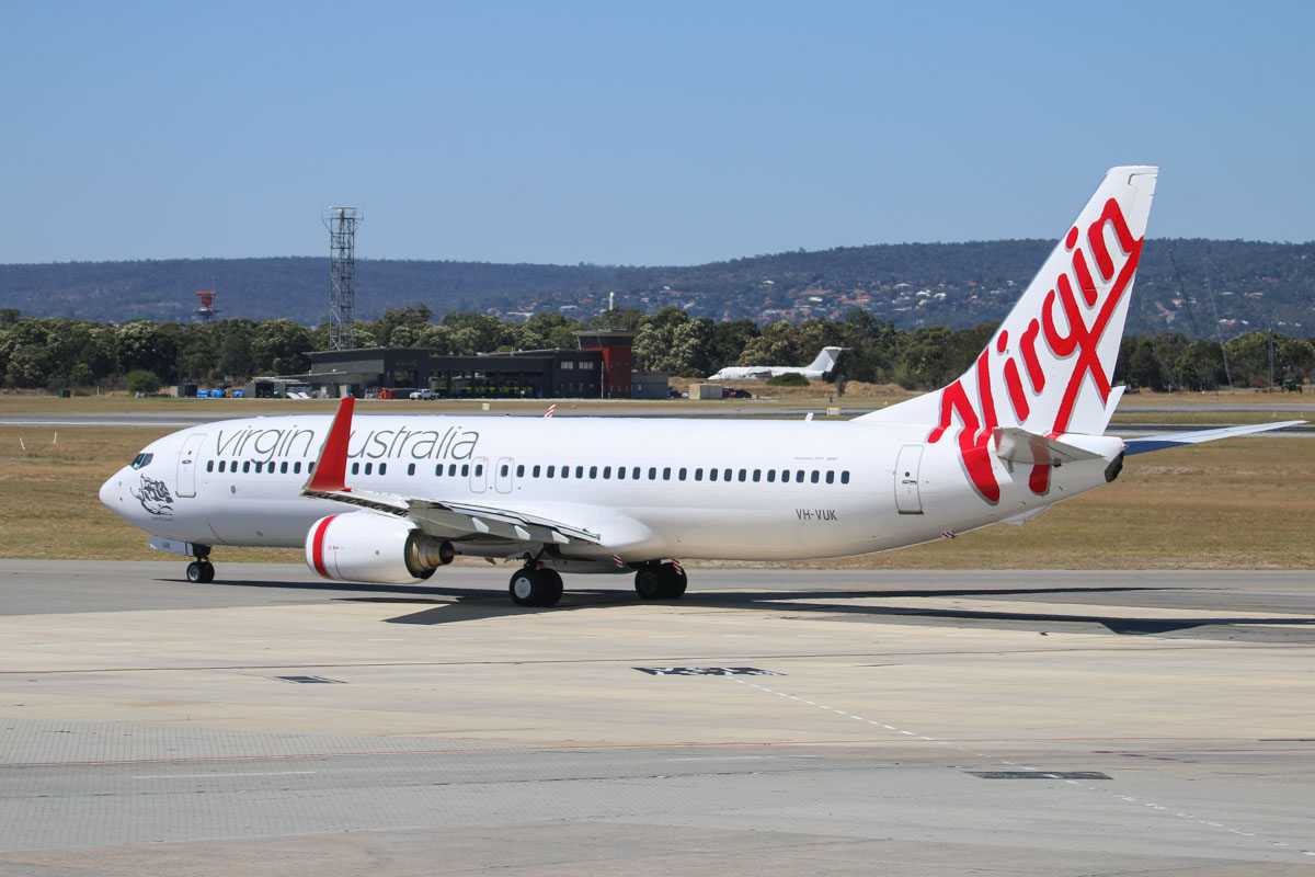 VH-VUK Boeing 737-8FE (MSN 36602 / 2353) of Virgin Australia, named 'Seaford Beach', at Perth Airport – Fri 6 March 2015. Flight VA1727 to Karratha, taxying out to runway 21 at 1.51pm. Photo © David Eyre