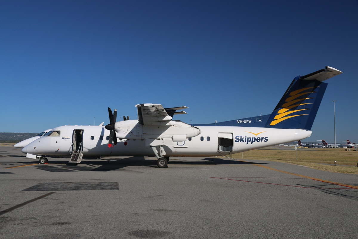 VH-XFV De Havilland Canada DHC-8-314 Dash 8 (MSN 350) of Skippers Aviation, at Perth Airport - Fri 6 March 2015. Parked opposite the Skippers Aviation facility on the northwest part of Perth Airport. Photo © David Eyre
