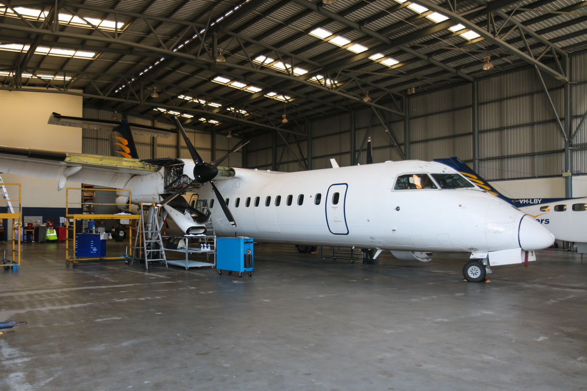 VH-XFX De Havilland Canada DHC-8-314 Dash 8 (MSN 313) of Skippers Aviation, at Perth Airport - Fri 6 March 2015. Pratt & Whitney Canada PW123B engine undergoing maintenance, in the Skippers Aviation hangar on the northwest part of Perth Airport. Photo © David Eyre