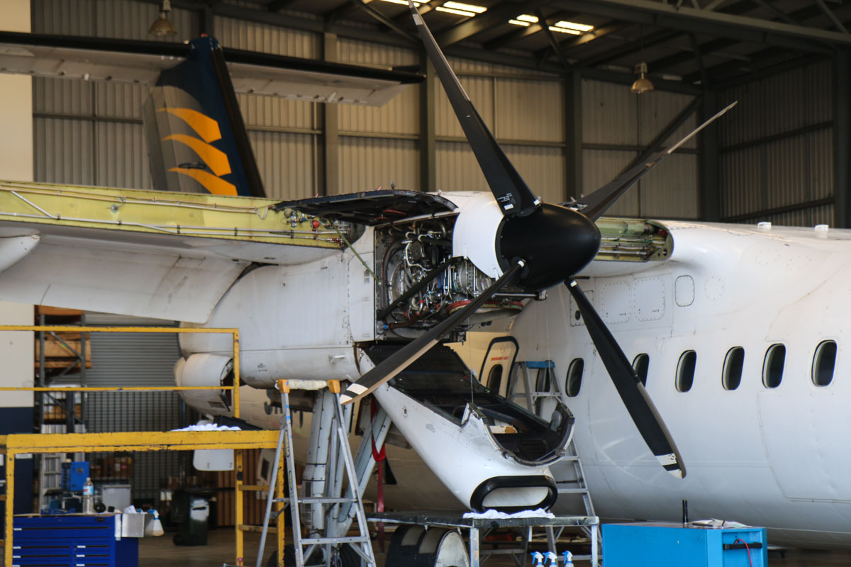 VH-XFX De Havilland Canada DHC-8-314 Dash 8 (MSN 313) of Skippers Aviation, at Perth Airport - Fri 6 March 2015. Pratt & Whitney Canada PW123B engine. Undergoing maintenance in the Skippers Aviation hangar on the northwest part of Perth Airport. Photo © David Eyre