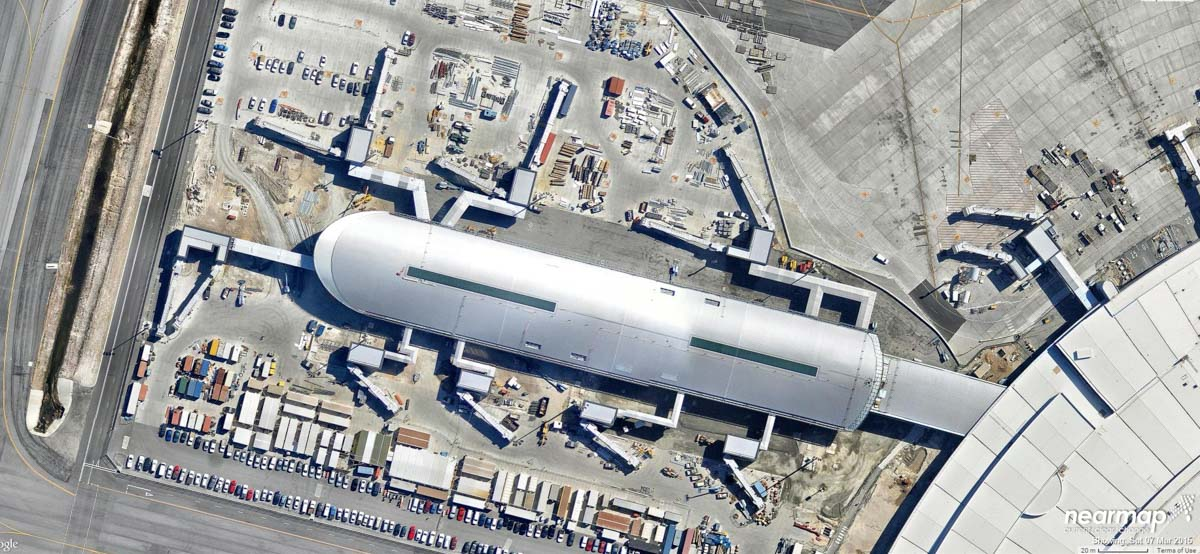 The new Virgin Australia pier, under construction at Terminal 1, Perth Airport - 7 March 2015. Photo © Nearmap