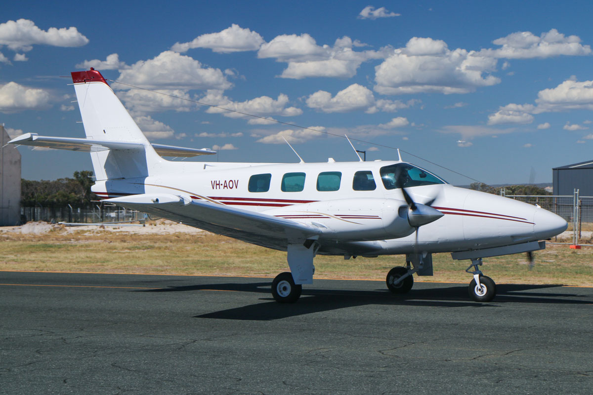 VH-AOV Cessna T303 Crusader (MSN T30300020) of West Aviation, at Jandakot Airport - Mon 9 March 2015. Built in 1981, ex N9469T. Photo © David Eyre
