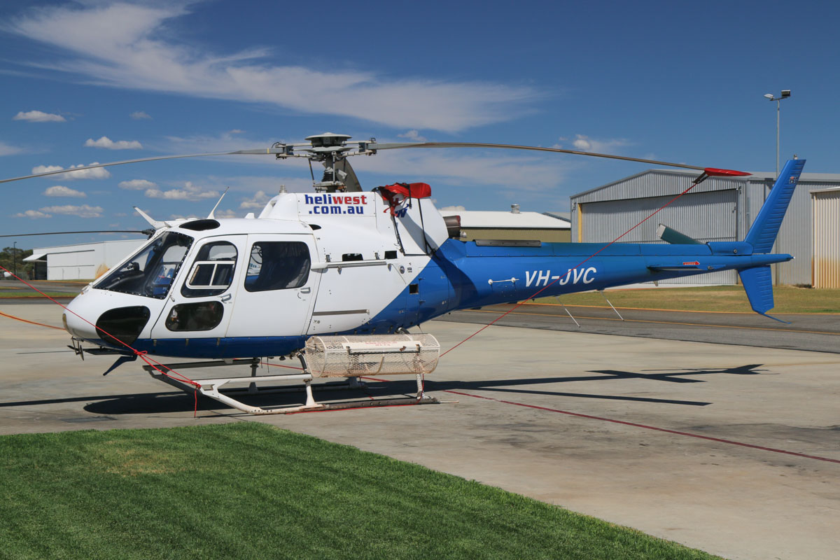 VH-JVC Aerospatiale AS350-FX2 (Heli-Lynx conversion) (MSN 1516) of Heliwest, at Jandakot Airport - Mon 9 March 2015. Converted from an AS350BA, with the Turbomeca Arriel engine replaced by a Textron Lycoming LTS-101-700D-2 engine. Photo © David Eyre