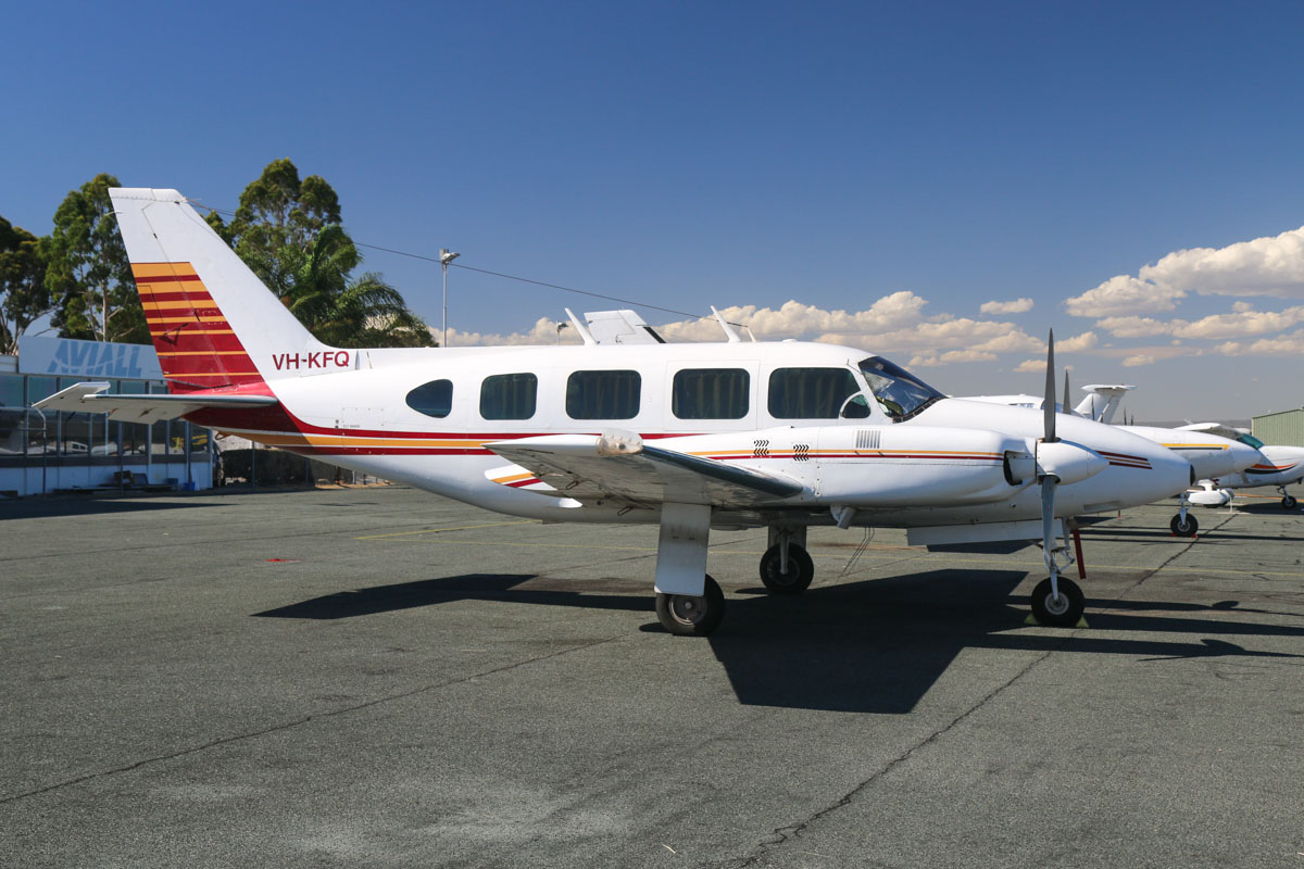 VH-KFQ Piper PA-31-310 Turbo Navajo B (MSN 31-7401250) owned by Western Air Charter, at Jandakot Airport - Mon 9 March 2015. Built in 1974, ex N61442, VH-SRZ. Photo © David Eyre