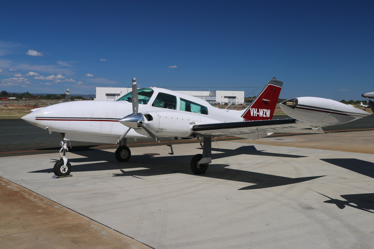 VH-WZW Cessna 310R (MSN 310R0719) owned by Geraldton Air Charter, Geraldton, at Jandakot Airport - Mon 9 March 2015. Built in 1976, ex N1364G, VH-URS. Photo © David Eyre