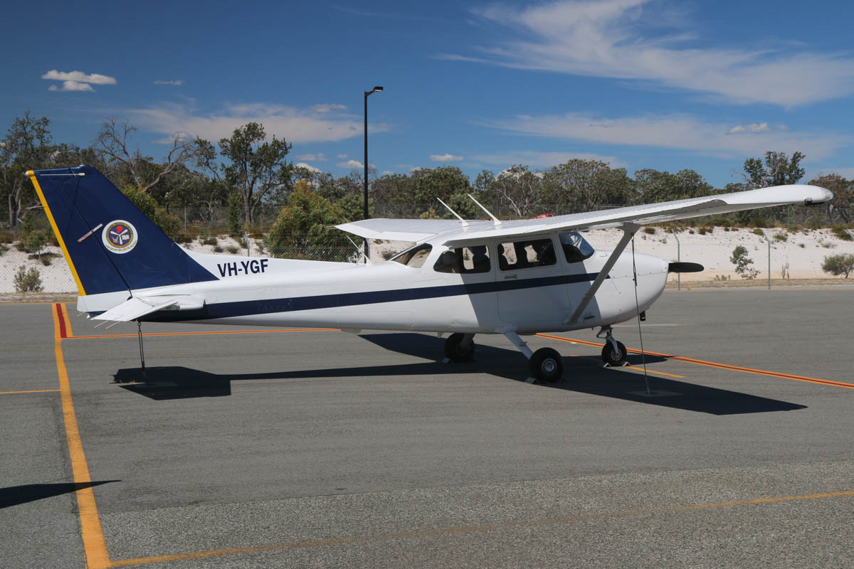 VH-YGF Cessna 172R Skyhawk (MSN 17281576), of Singapore Flying College Pte Ltd, at Jandakot Airport - Mon 9 March 2015. Built in 2011, ex N9088R. One of nine Cessna 172R aircraft based at Jandakot Airport to train pilots for Singapore Airlines. Photo © David Eyre