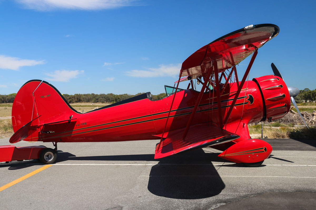 VH-YRB WACO Aircraft YMF-F5C (MSN F5C105) owned by Archibald Dudgeon at Jandakot Airport – Mon 9 March 2015. Built in 2005, ex N105KS. The WACO YMF is a modified version of the 1930s vintage WACO YMF, built to meet current FAA standards. Photo © David Eyre
