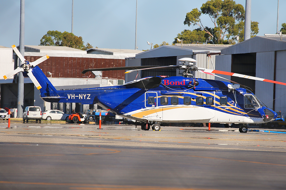 VH-NYZ Sikorsky S-92A (MSN 920233) of Bond Helicopters at Perth Airport – 10 March 2015.