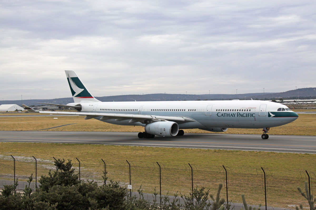 B-LAK Airbus A330-343X (MSN 1196) of Cathay Pacific, at Perth Airport - Fri 13 March 2015. Flight CX136 to Hong Kong, taxying out to runway 03 at 8.13am for takeoff. Photo © Steve Jaksic