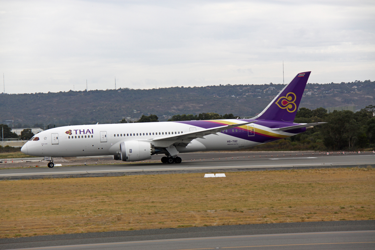 HS-TQC Boeing 787-8 Dreamliner (MSN 36110/226), named 'Pran Buri', of Thai Airways International, at Perth Airport - Fri 13 March 2015. Flight TG484 to Bangkok, taxying out to runway 03 at 9.36am for takeoff. Photo © Steve Jaksic