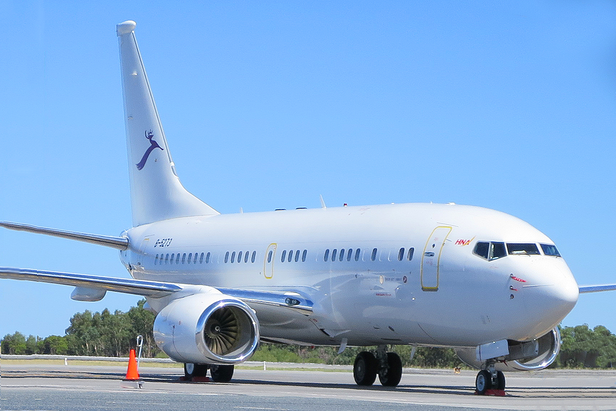 B-5273 Boeing 737-73W BBJ (MSN 38633) Deer Jet at Perth Airport – 20 Mar 2015.