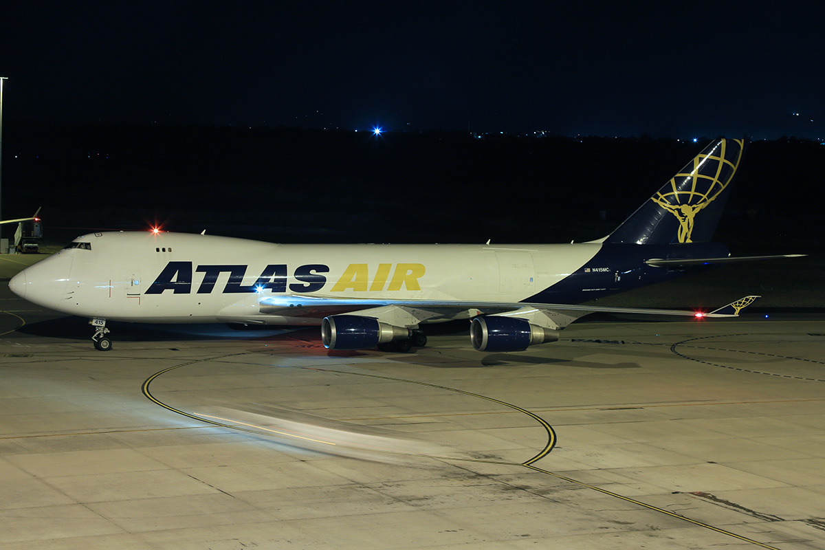 N415MC Boeing 747-47UF (MSN 32837) of Atlas Air Cargo at Perth airport – 28 March 2015.