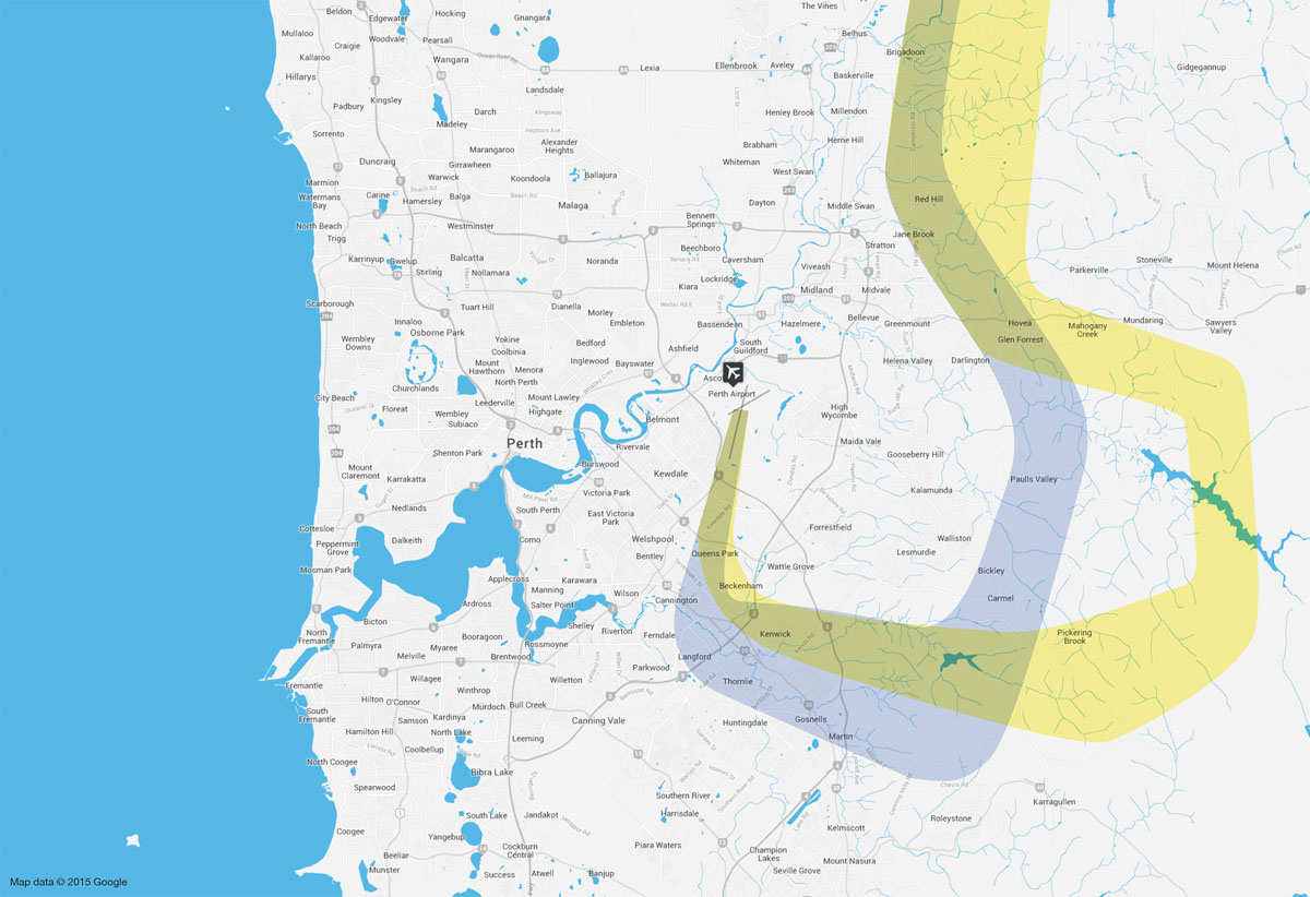 Current flight path (blue) versus proposed (yellow) Smart Tracking and visual flight path, for aircraft arriving from the north and east of Perth to land on Runway 03 at Perth Airport. Map by Airservices Australia.