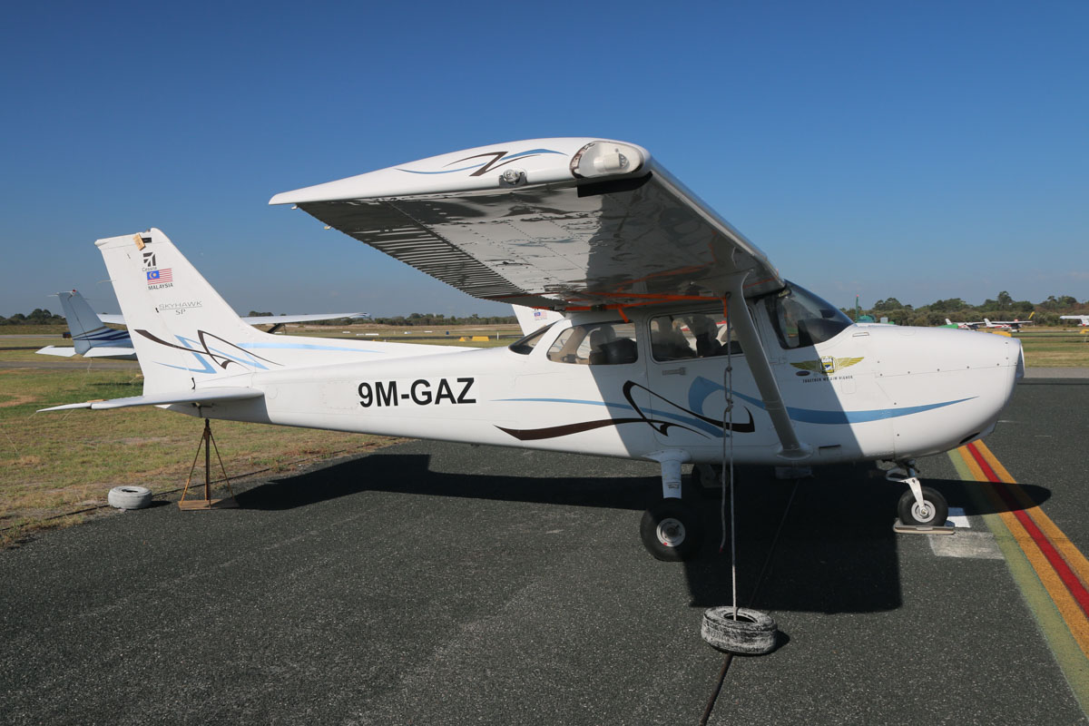 9M-GAZ (VH-YHJ) Cessna 172S Skyhawk SP (MSN 172S10827) owned by Airflite Pty Ltd, at Jandakot Airport - Sat 21 March 2015. This aircraft was registered VH-YHJ two days prior to this photo on 19 March 2015, but the registration had not yet been painted on the aircraft. Still wearing its Malaysian registration and titles of former owner Gulf Golden International Flying College (GGIFA) of Bintulu, Malaysia. Built in 2008, ex 9M-GAZ, N828JA. Photo © David Eyre