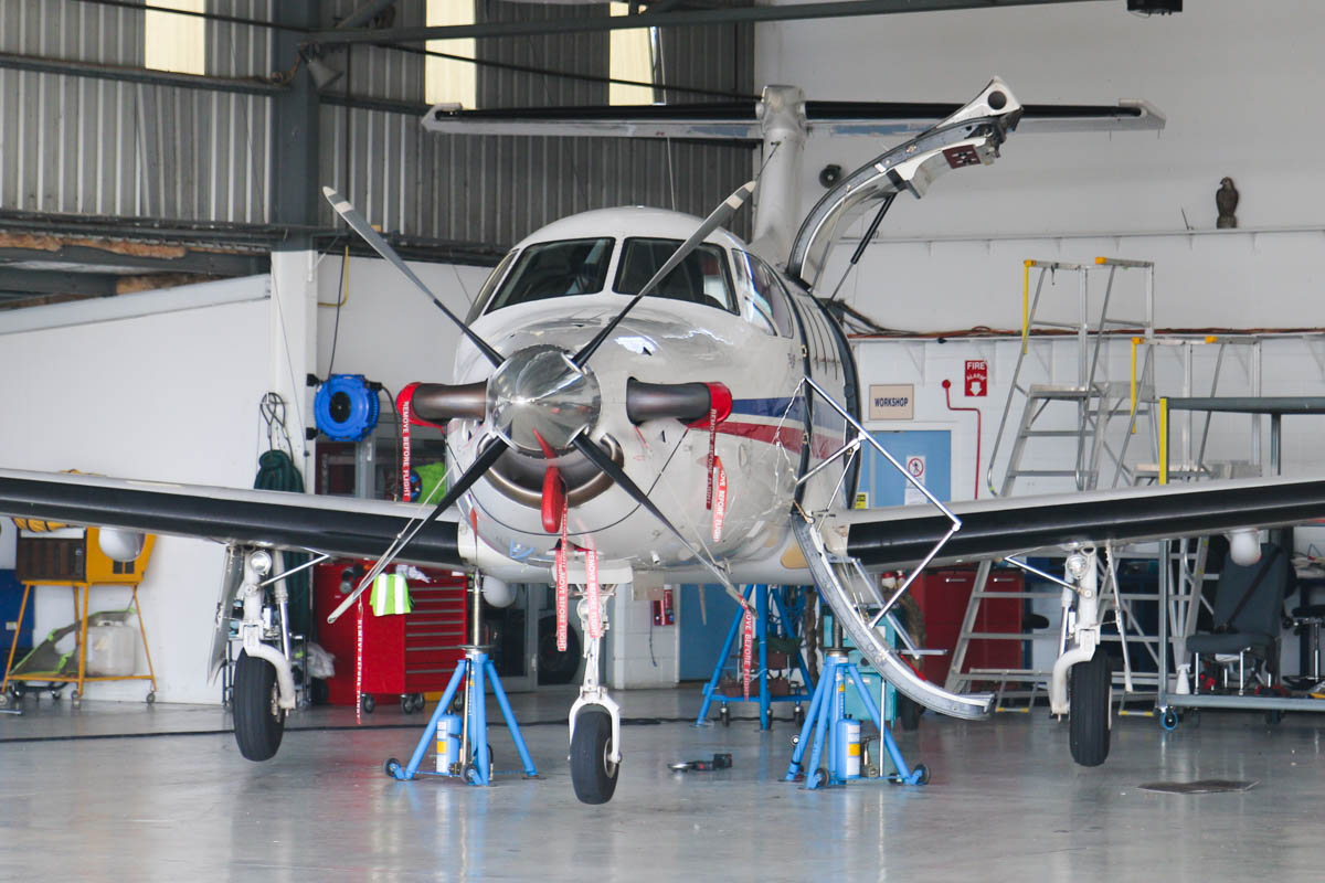 VH-... Pilatus PC-12/47E of the Royal Flying Doctor Service (Western Operations), at Jandakot Airport - Sat 21 March 2015. Undergoing maintenance in the RFDS hangar. Photo © David Eyre
